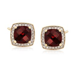 3.62 ct. t.w. Garnet and .12 ct. t.w. Diamond Stud Earrings in 14kt Yellow Gold, , default