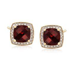 3.62 ct. t.w. Garnet and .12 ct. t.w. Diamond Stud Earrings in 14kt Yellow Gold, , default
