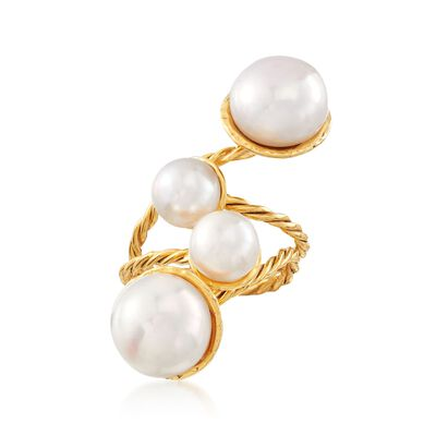 7-10mm Cultured Pearl Ring in 18kt Yellow Gold Over Sterling Silver, , default
