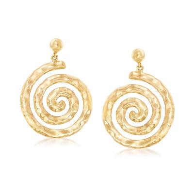 Italian 14kt Yellow Gold Spiral Drop Earrings, , default