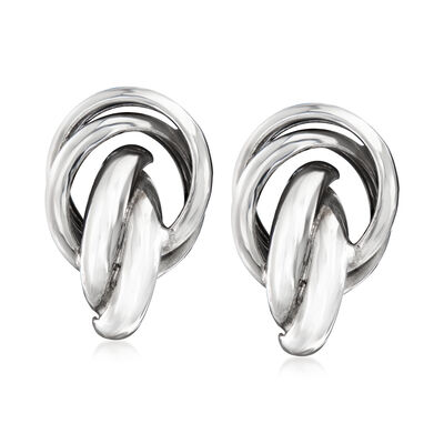 Sterling Silver Knot Clip-On Earrings, , default