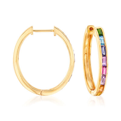 1.30 ct. t.w. Multi-Gem Hoop Earrings in 18kt Gold Over Sterling, , default