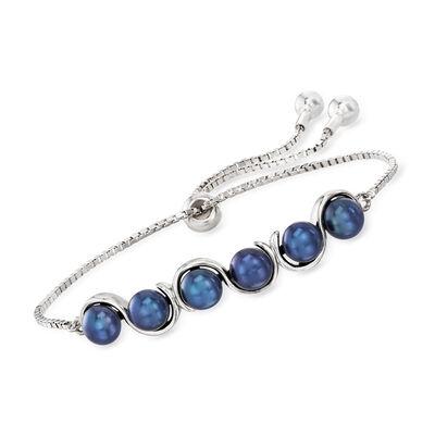 5.5-6mm Black Cultured Pearl Bolo Bracelet in Sterling Silver
