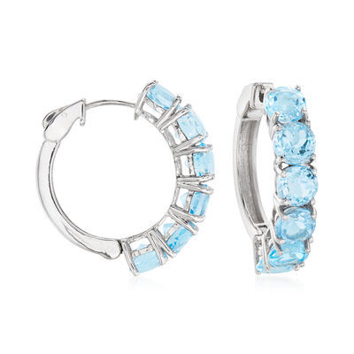 14.00 ct. t.w. Sky Blue Topaz Hoop Earrings in Sterling Silver