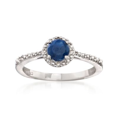 .60 Carat Round Sapphire Ring with Diamond Accents in Sterling Silver