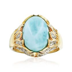 Larimar and .19 ct. t.w. Diamond Ring in 14kt Yellow Gold, , default