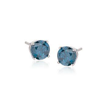 1.00 ct. t.w. Blue Diamond Stud Earrings in 14kt White Gold, , default