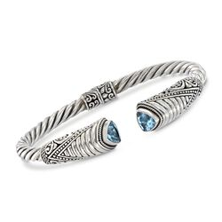 """2.70 ct. t.w. Blue Topaz Bali-Style Cuff Bracelet in Sterling Silver. 7.5"""", , default"""
