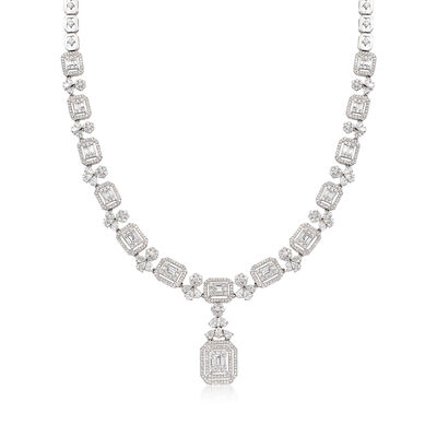 9.90 ct. t.w. Multi-Shaped Diamond Necklace in 18kt White Gold, , default