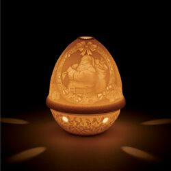 Lladro Porcelain Lithophane Votive Light - Santa Claus, , default
