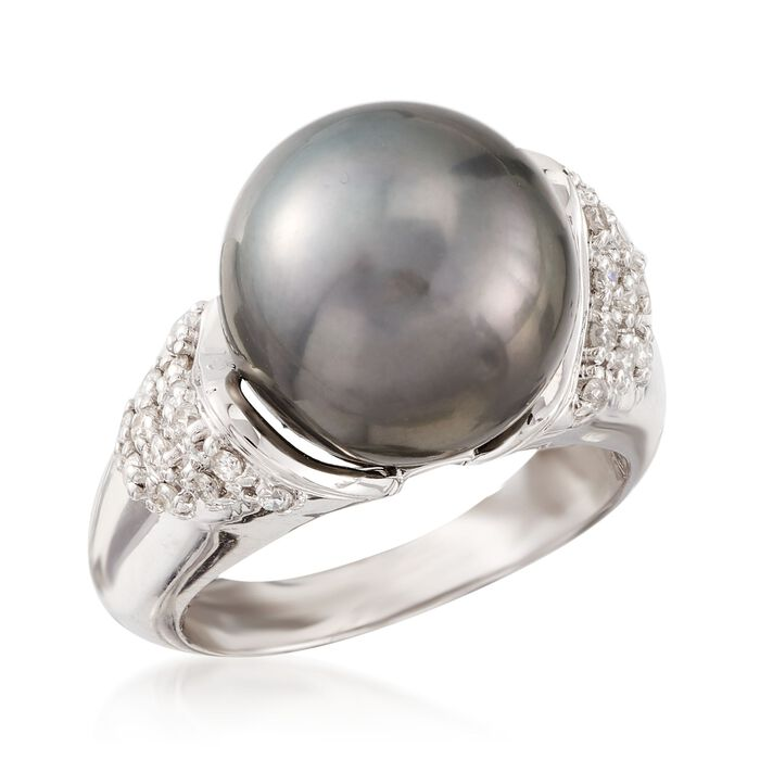 12-13mm Black Tahitian Cultured Pearl and .26 ct. t.w. Diamond Ring in 14kt White Gold