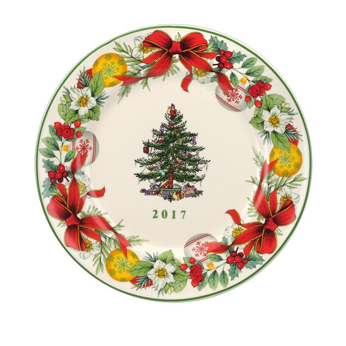 """Spode 2017 Annual """"Christmas Tree"""" Porcelain Collector's Plate, , default"""