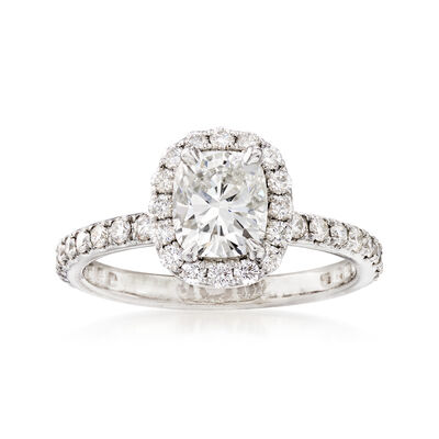 C. 2005 Vintage 1.58 ct. t.w. Diamond Halo Engagement Ring in Platinum, , default