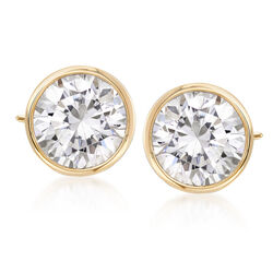 4.00 ct. t.w. Bezel-Set CZ Stud Earrings in 14kt Yellow Gold, , default