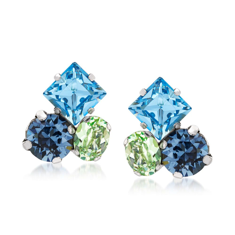 Italian Sterling Silver Earrings With Blue And Green Swarovski Crystals Default