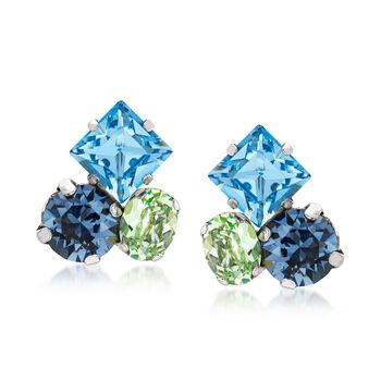 Italian Sterling Silver Earrings With Blue and Green Swarovski Crystals, , default