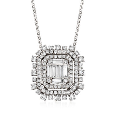 1.30 ct. t.w. Diamond Frame Adjustable Pendant Necklace in 18kt White Gold, , default