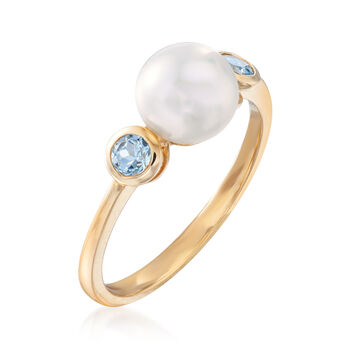 7-7.5mm Cultured Pearl and .20 ct. t.w. Blue Topaz Ring in 14kt Yellow Gold, , default
