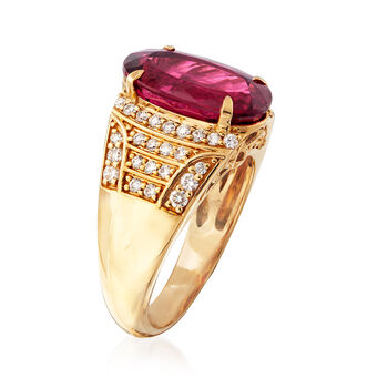 5.75 Carat Tourmaline and .50 ct. t.w. Diamond Dome Ring in 18kt Yellow Gold. Size 7, , default