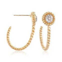 .25 ct. t.w. Diamond J-Hoop Earrings in 14kt Yellow Gold, , default