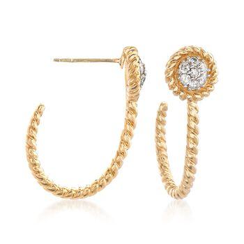 """.25 ct. t.w. Diamond J-Hoop Earrings in 14kt Yellow Gold. 3/4"""", , default"""