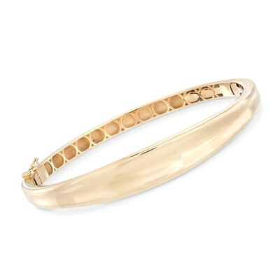 Italian 18kt Yellow Gold Polished Curved-Top Bangle Bracelet, , default