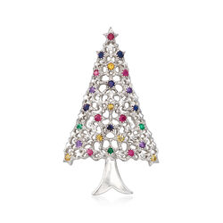 .80 ct. t.w. Multi-Stone Christmas Tree Pin in Sterling Silver, , default