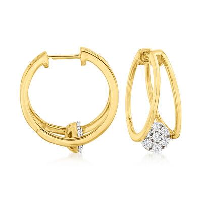 .50 ct. t.w. Diamond Cluster Double-Hoop Earrings in 18kt Gold Over Sterling