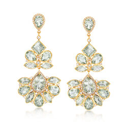 45.25 ct. t.w. Green Amethyst and 3.10 ct. t.w. White Topaz Chandelier Earrings in 18kt Gold Over Sterling, , default