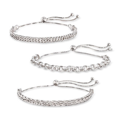 Sterling Silver Jewelry Set: Multi-Link Bolo Bracelets, , default