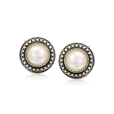 Andrea Candela 8mm Pearl Earrings in 18kt Yellow Gold and Sterling Silver