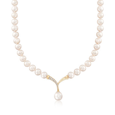 "Cultured Pearl and .10 ct. t.w. Diamond Fluted ""V"" Necklace with 14kt Yellow Gold, , default"