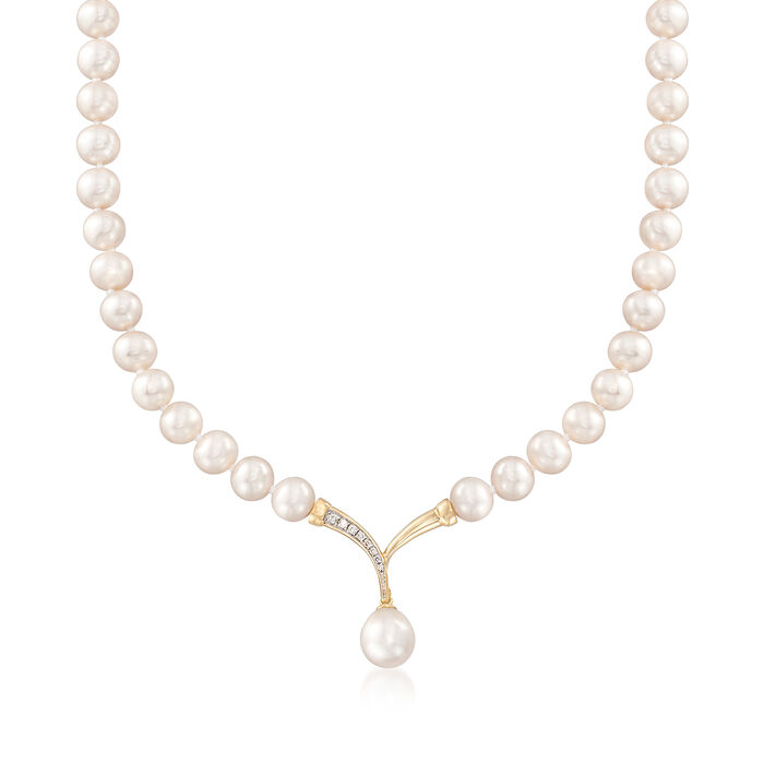 """Cultured Pearl and .10 ct. t.w. Diamond Fluted """"V"""" Necklace with 14kt Yellow Gold, , default"""