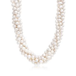 "8mm Cultured Pearl Torsade Necklace With Sterling Silver. 17"", , default"