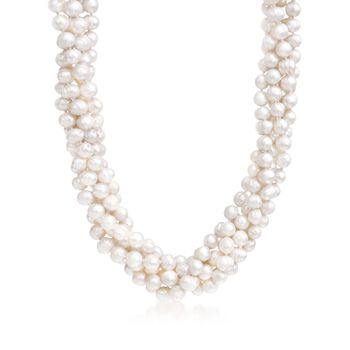 """8mm Cultured Pearl Torsade Necklace With Sterling Silver. 17"""", , default"""