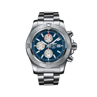 Breitling Super Avenger II Chronograph Men's 48mm Stainless Steel Watch - Blue Dial