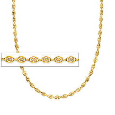 C. 1970 Vintage 18kt Yellow Gold Scrolling Chain Necklace