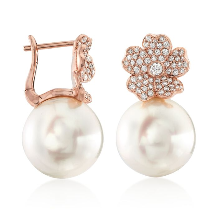 "Mikimoto ""Cherry Blossom"" 11mm A+ South Sea Pearl and .45 ct. t.w. Diamond Floral Earrings in 18kt Rose Gold"