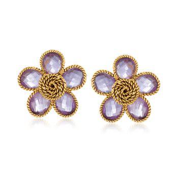 """C. 1970 Vintage 20.00 ct. t.w. Amethyst Flower Earrings in 18kt Yellow Gold. 1"""", , default"""