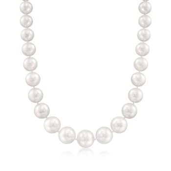 "12-16mm Cultured South Sea Pearl Necklace With Diamond Accent and 14kt Yellow Gold. 18"", , default"