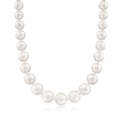 12-16mm Cultured South Sea Pearl Necklace with Diamond Accent and 14kt Yellow Gold, , default