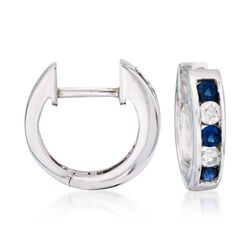 ".45 ct. t.w. Sapphire and Diamond Hoop Earrings in 14kt White Gold. 3/8"", , default"