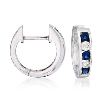 """.45 ct. t.w. Sapphire and Diamond Hoop Earrings in 14kt White Gold. 3/8"""", , default"""