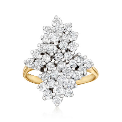 C. 1980 Vintage 2.25 ct. t.w. Diamond Cluster Bypass Ring in 14kt Two-Tone Gold