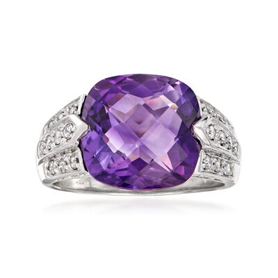C. 1990 Vintage 5.00 Carat Amethyst and .65 ct. t.w. Diamond Ring in 14kt White Gold