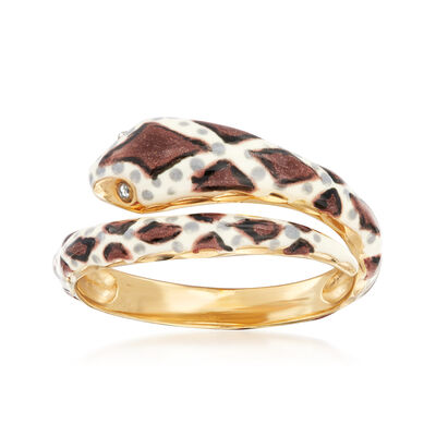 Multicolored Enamel Snake Bypass Ring in 18kt Gold Over Sterling, , default