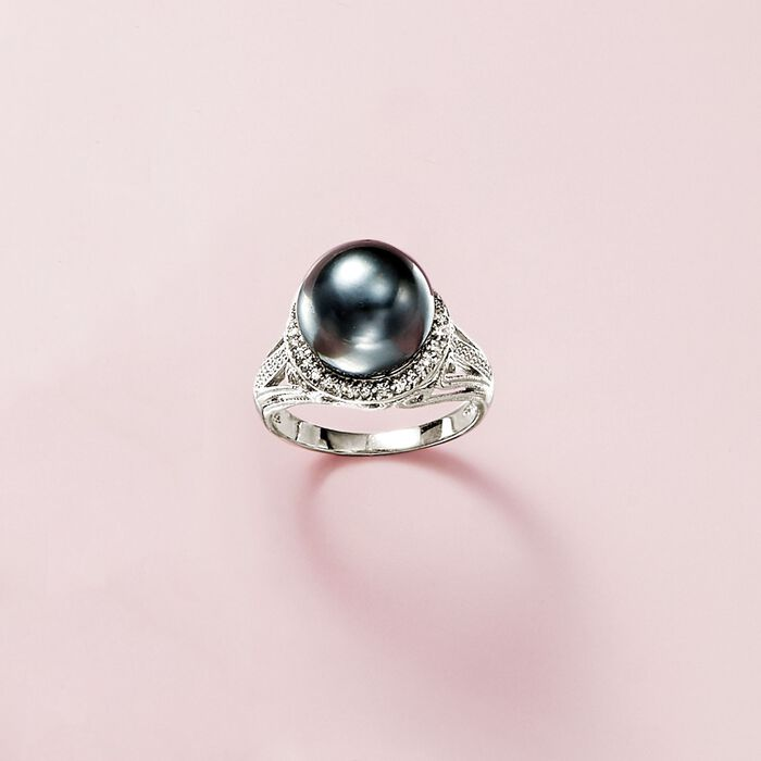 11-12mm Black Cultured Tahitian Pearl Ring with .20 ct. t.w. White Topaz in Sterling Silver