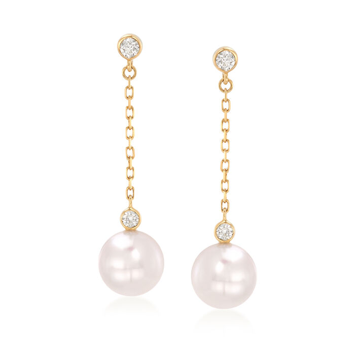 Mikimoto 8.5mm A+ Akoya Pearl and .18 ct. t.w. Diamond Drop Earrings in 18kt Yellow Gold