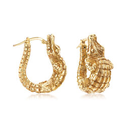 C. 2000 Vintage 14kt Yellow Gold Alligator Hoop Earrings, , default