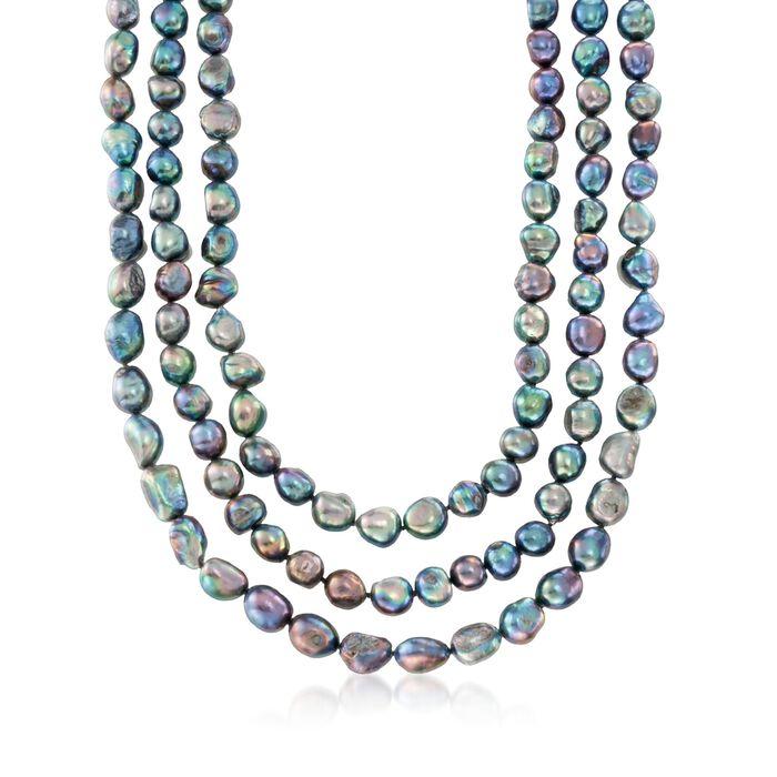 10-11mm Black Cultured Baroque Pearl Endless Necklace, , default